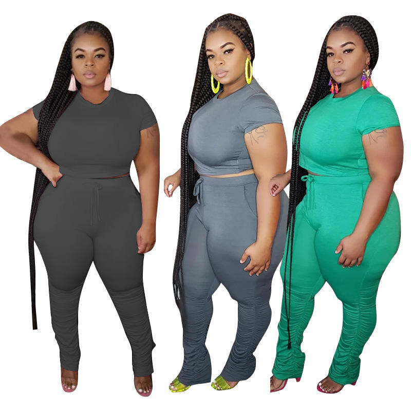 Bunny BN-20736 Casual Solid Color Lace-up Plus Size One Piece Jumpsuit