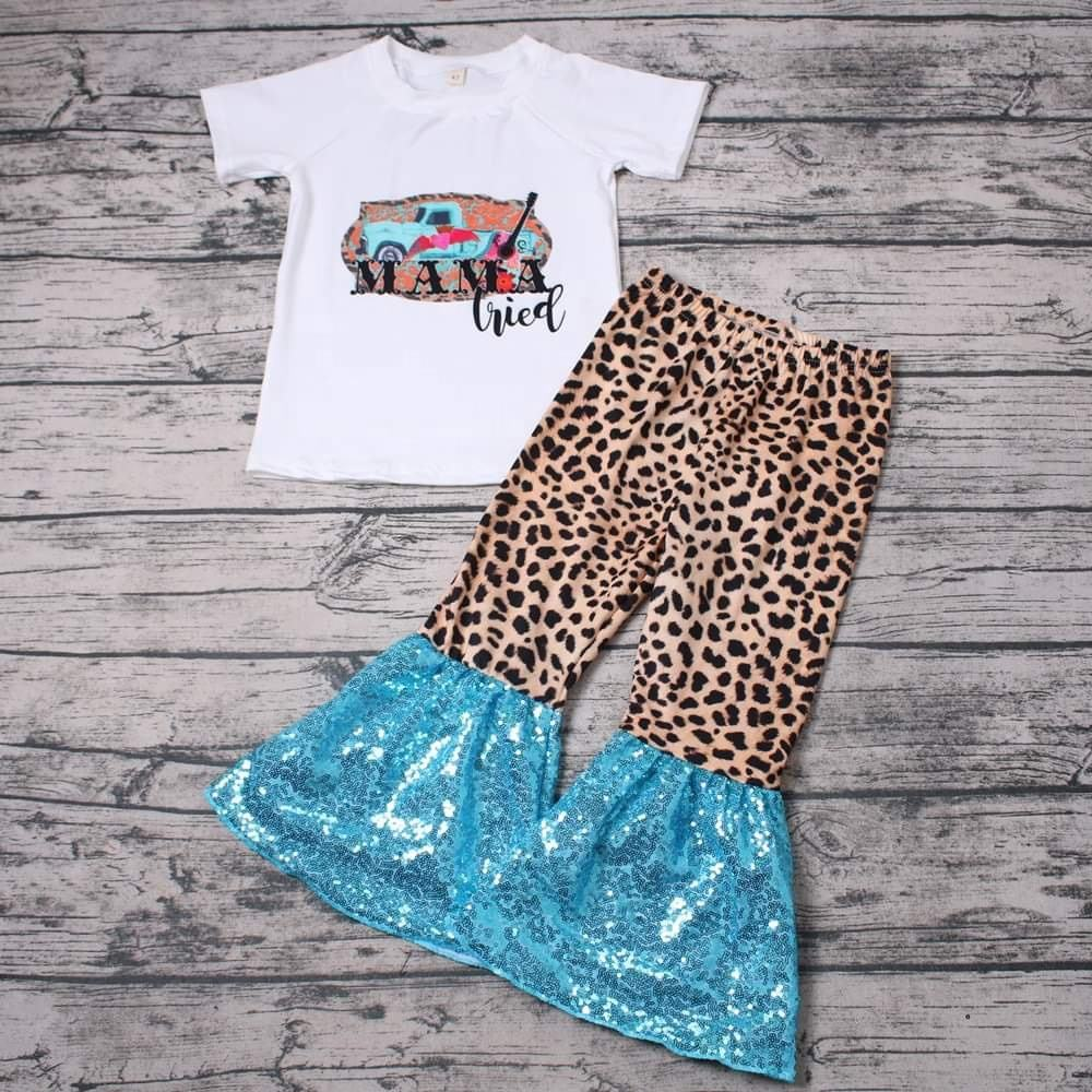 fashion new design girls outfits leopard with sequins bellbottoms kid clothing set