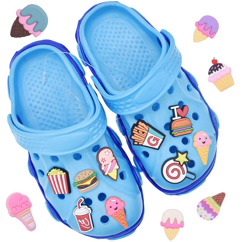Cupcakes Hamburg Clog Decoration Ice Cream Cheap Soft PVC Charms for Bracelets Clog Shoes
