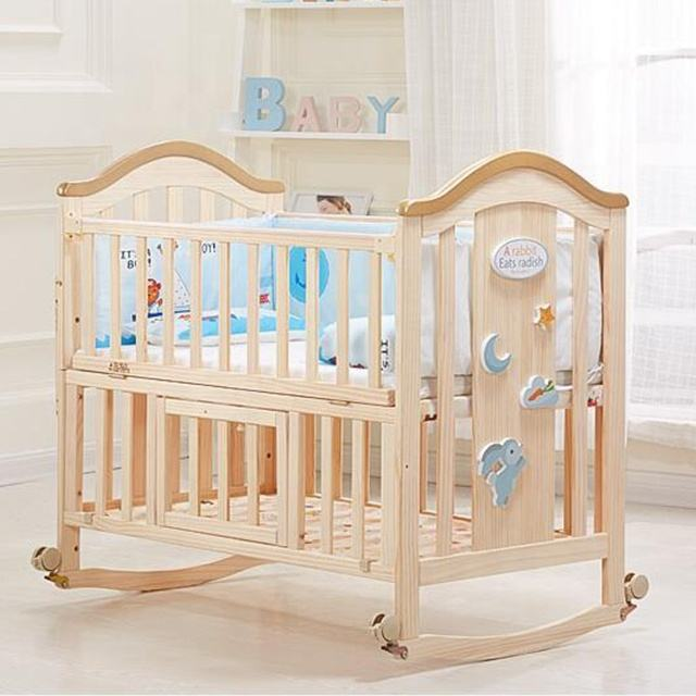 Wholesale Factory Price natural color rocking baby single bed size/baby cot with mattress