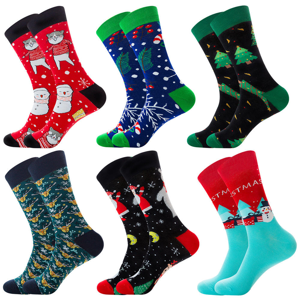 2020 christmas Custom design wholesale Winter warm Soft women men fuzzy happy christmas socks