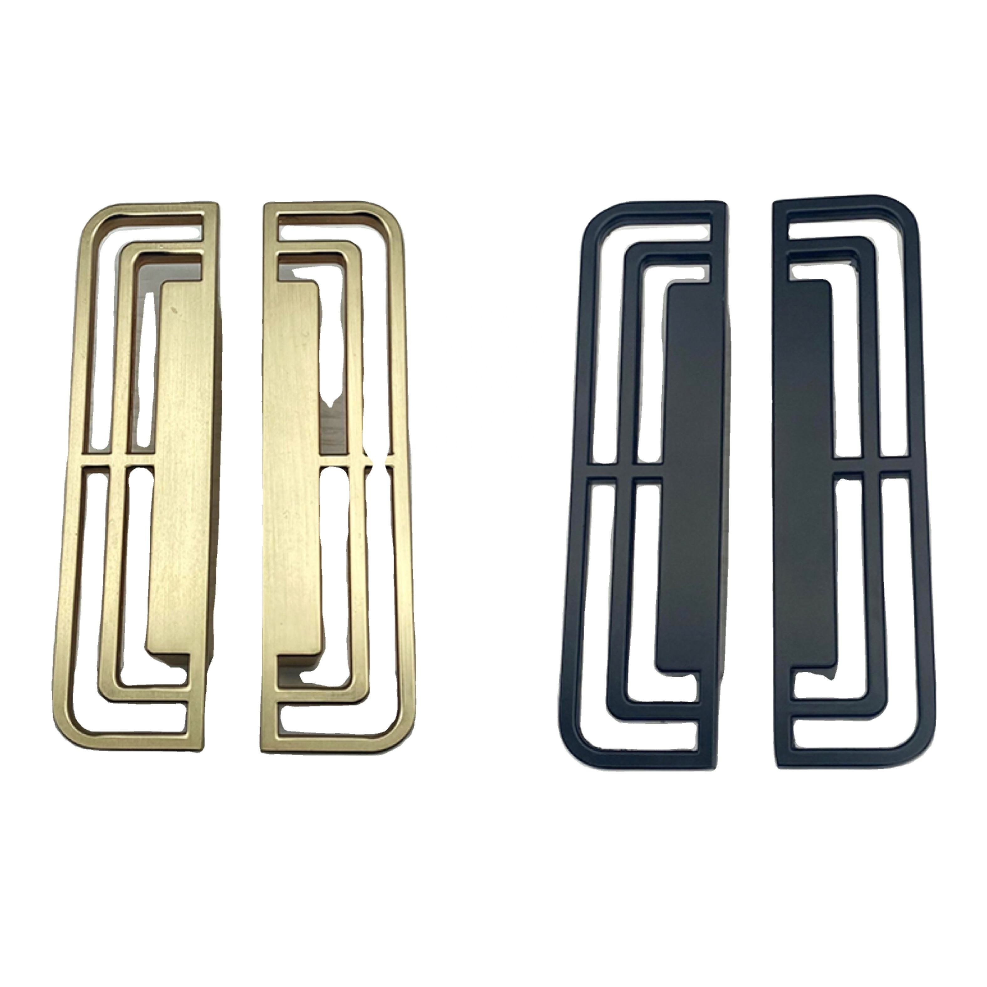Chinese Left and Right Symmetrical ZAMAK electroplate cabinet door drawer handle furniture rectangular hollow pull copper black