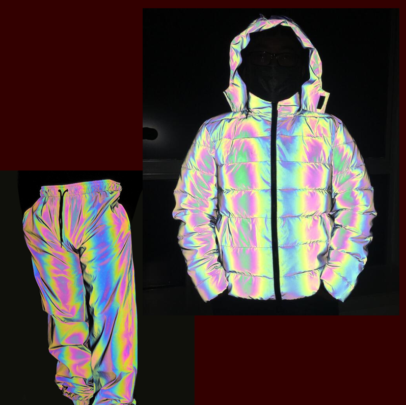 waterproof holographic iridescent motorcycle metallic blue orange silver puffer women joggers reflective jacket coat with en471