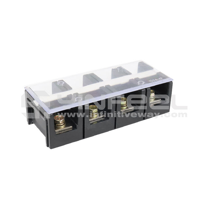 100 Amps Plastic Isolated Fireproof Brass Coppper Terminal Block-Model IF-TC1004