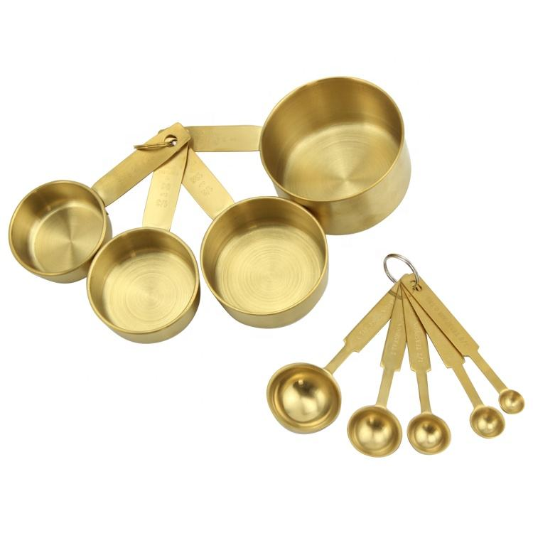 9 Pieces Gold Bakeware Set 430 Stainless Steel Measuring Cups and Spoons with Engraved Measurements and Hanging Loop