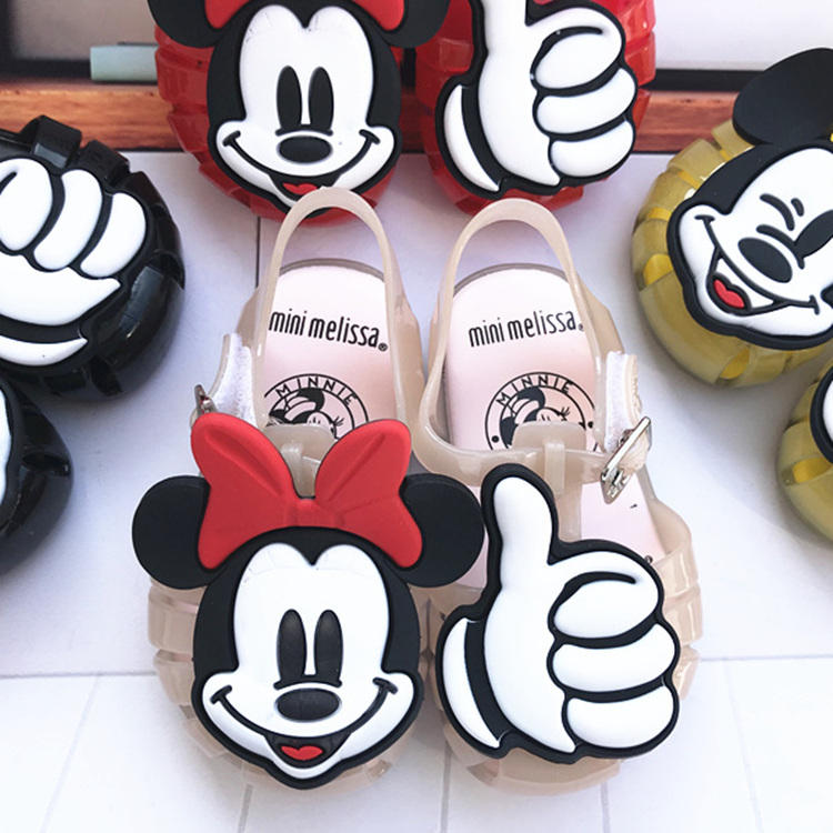 New style jelly children's shoes Mickey and Minnie Mouse pattern anti-slip greece baby sandals unisex jelly flat shoes