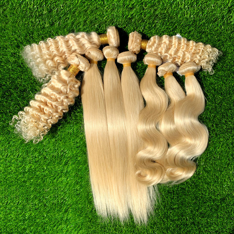8A 10A Virgin Russian Blonde Human Hair Weaves Platinum Cambodian #613 Body Wave Straight Deep Wave Blonde Hair Bundles Weft