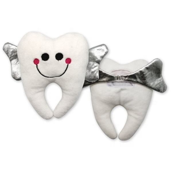 Beautiful White Soft Plush Tooth Toys With Wings Custom OEM Smile Stuffed Plush Toy Tooth Fairy Pillow
