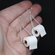 2020 New Product Ideas Toilet Roll Paper Earings for Women Fashion Personality Toilet Paper Earrings Hoop Jewelry Hot Sale