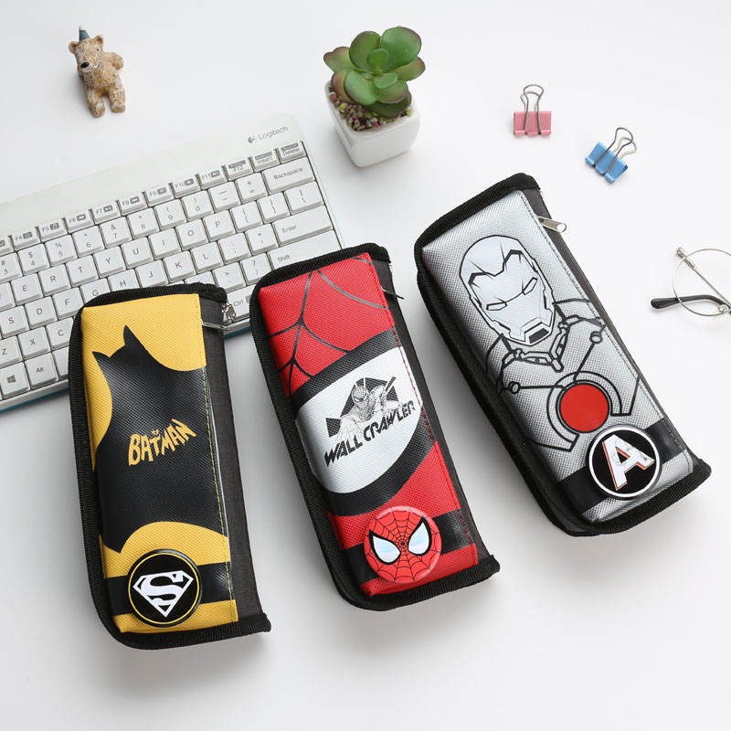 TOPSTHINK Cool super hero fabric pencil bag cartoon anime avengers school pencil case with decoration