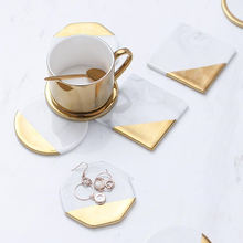 Marble Coasters Unique Beer Coffee Bar Tea Round Hexagon Custom Gold Set Holders Cup Mat Marble Coasters For Drink