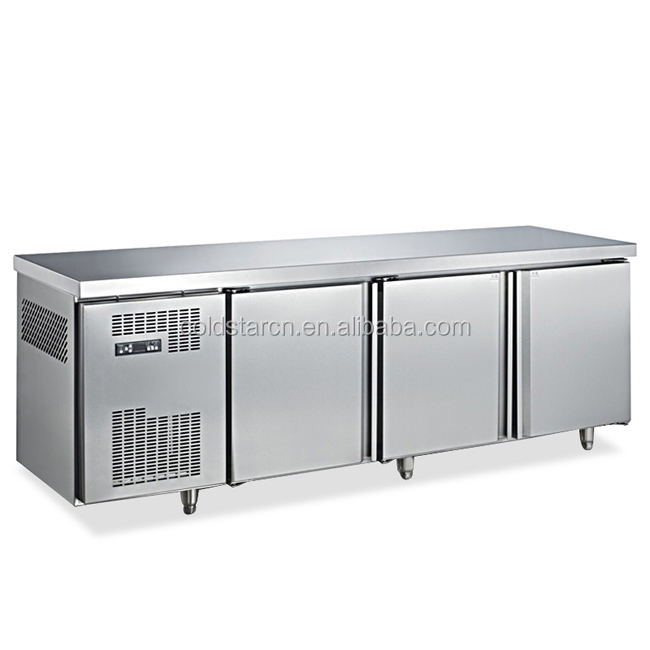 In acciaio inox sottopiano freezer, 3 porte banco di lavoro congelatore
