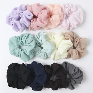 QIYUE 12 Colors Available Woman Cheap Plain Color Chiffon Hair Scrunchies