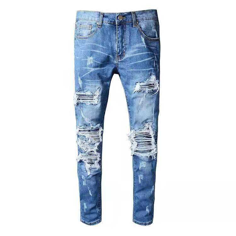 2021 new style distressed jeans patchwork mixed different color denim jean rip for men