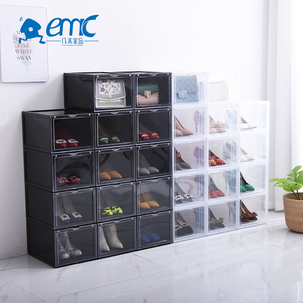 Wholesale space saver stackable plastic clear shoe storage