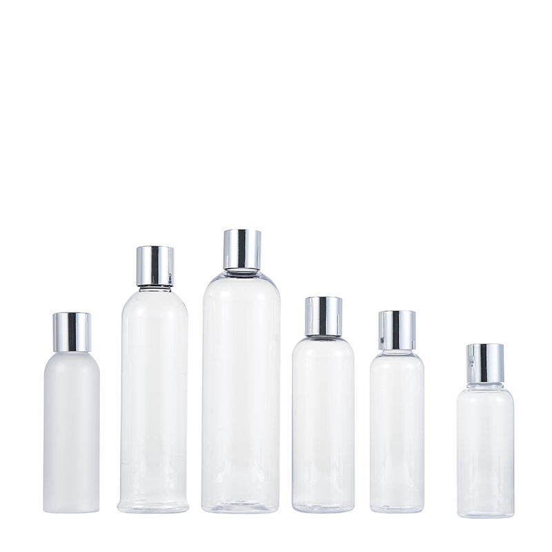 100ml 120ml 180ml 250ml 400ml round clear transparent pet press top cap plastic lotion cosmetic bottle in bulk