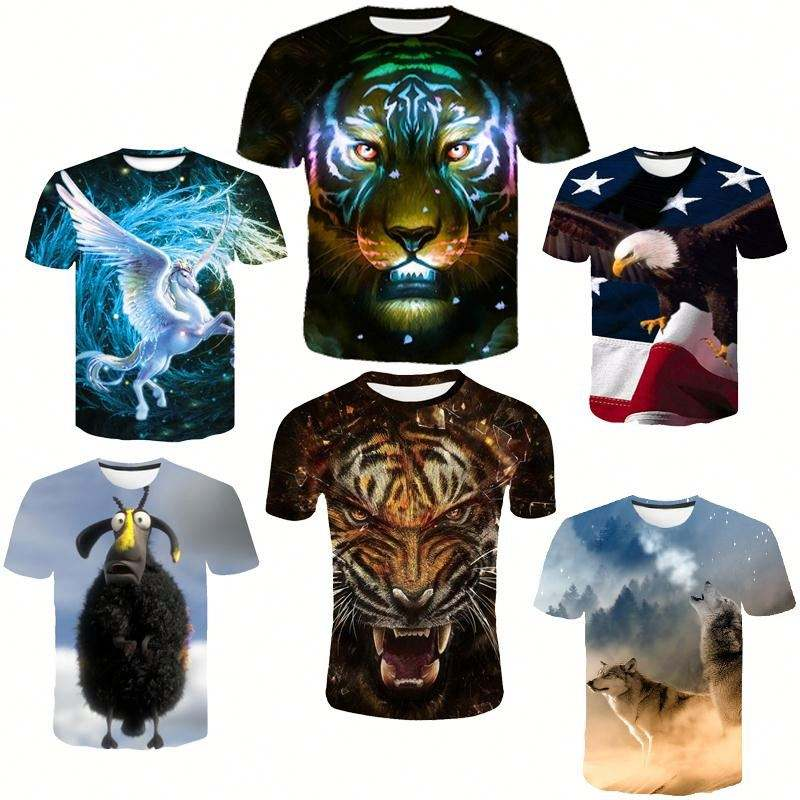 Tshirts with Logo Custom Logo Printed 3d Tshirt Cotton Sheep Tiger Animal T-shirt for Men Custom Printed Tshirt Playeras Men/s