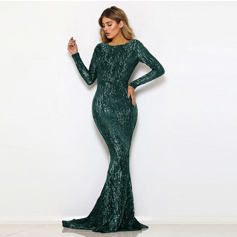 O Neck Autumn Winter Floor Length Muslim Long Sleeves Formal Elegant Wedding Gown Prom Sequined Evening Maxi dress