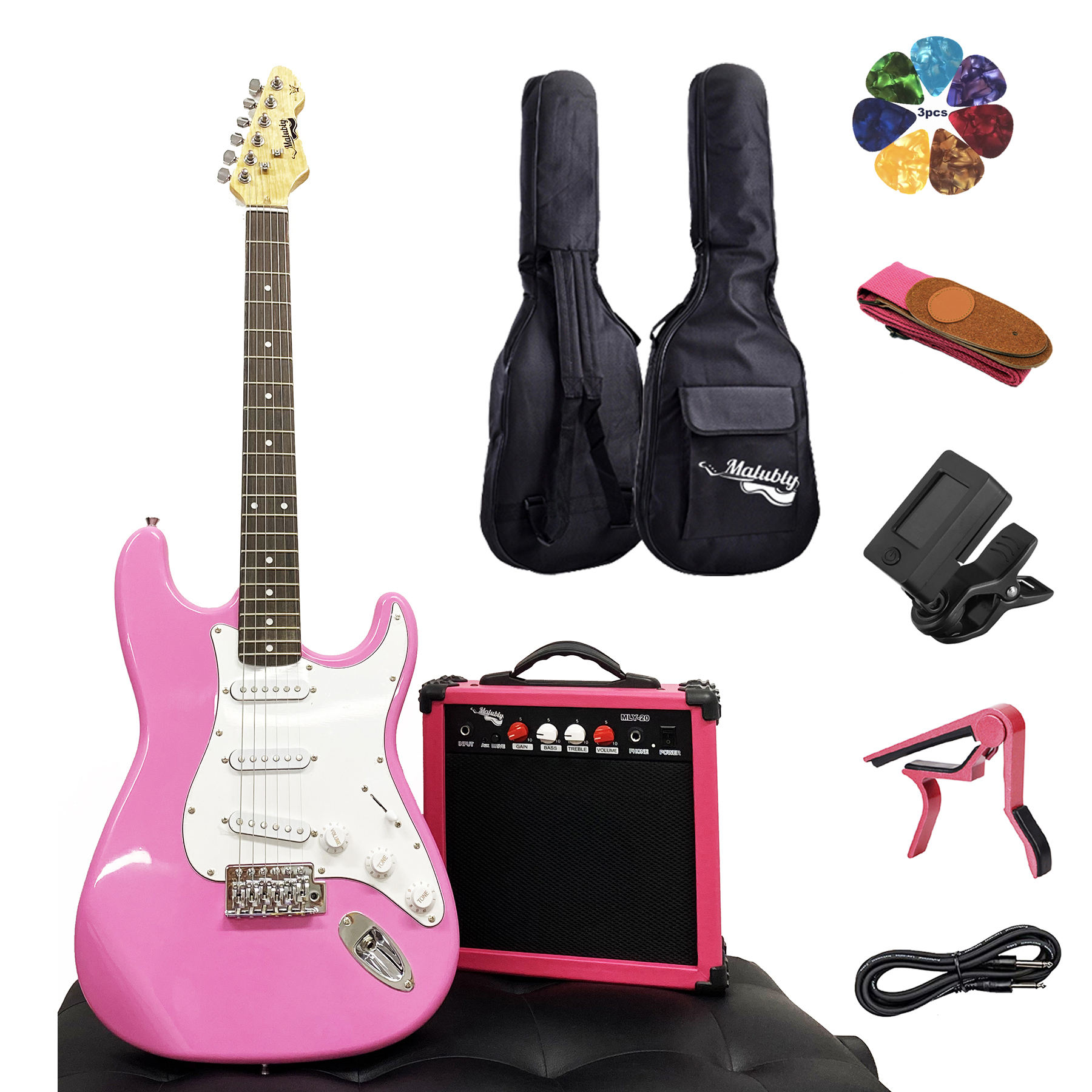Wholesale custom Pink Strat Guitar pack set ST electric guitar with Amplifier Tuner Capo Gig bag Strap Picks