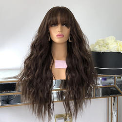 Natural Black Color Lace Front Human Hair Wigs Pre-Plucked Brazilian Virgin Wave WIth Bangs Hair Lace Wig