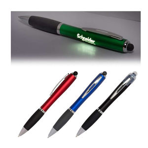 Promotionele Goedkope Custom Laser Logo Led Plastic Touch Stylus Ball Pen 3 In 1 Balpen