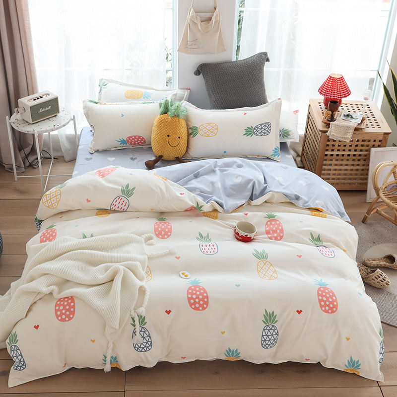 New Arrival 100% Cotton Fabric 4 PCS Sets cartoon Design beautiful Print High Quality Soft Bed Sheet Sets