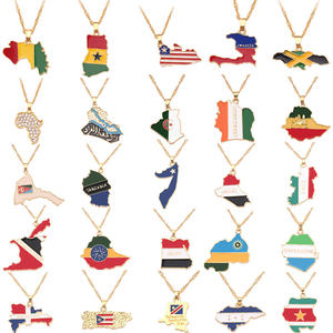 Custom African Countries Map Alloy Pendant Necklace