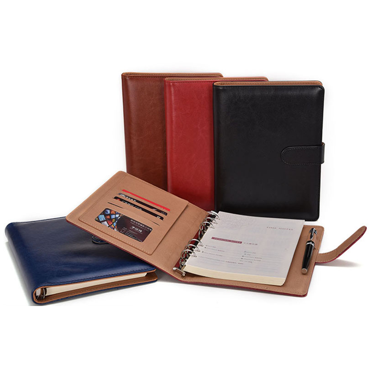 Soft cover refillable ring binder loose leaf leather journal diary notebook with magnetic clasp