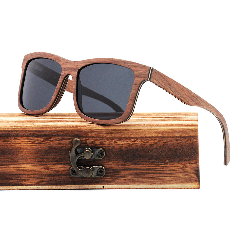 Big square mens sunglasses wooden frame polarized wholesale in bulk cheap wooden sunglasses