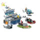Best legoinglys police rescue boat ship building blocks toy with figures for kids