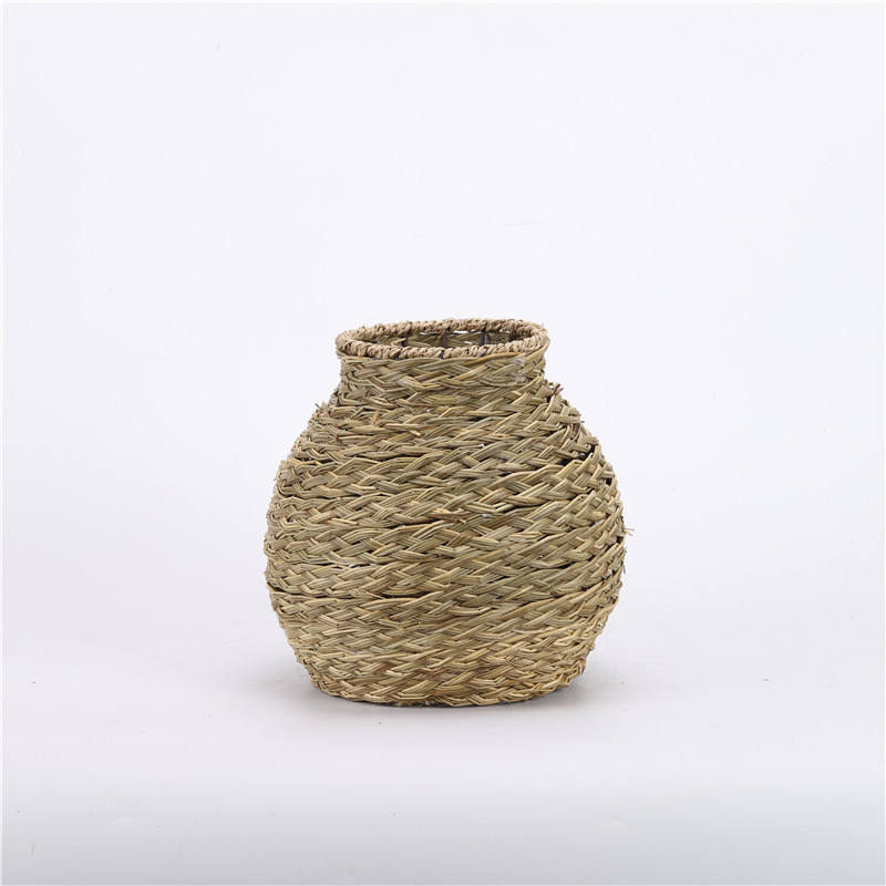 Fashion original Natural weaving Eco-friendly Straw rope flower pot vase