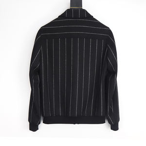 2020 Winter Gentleman Fashion Brand Design Men Striped Bomber Jacket Wool Ribbed Hem Jacket