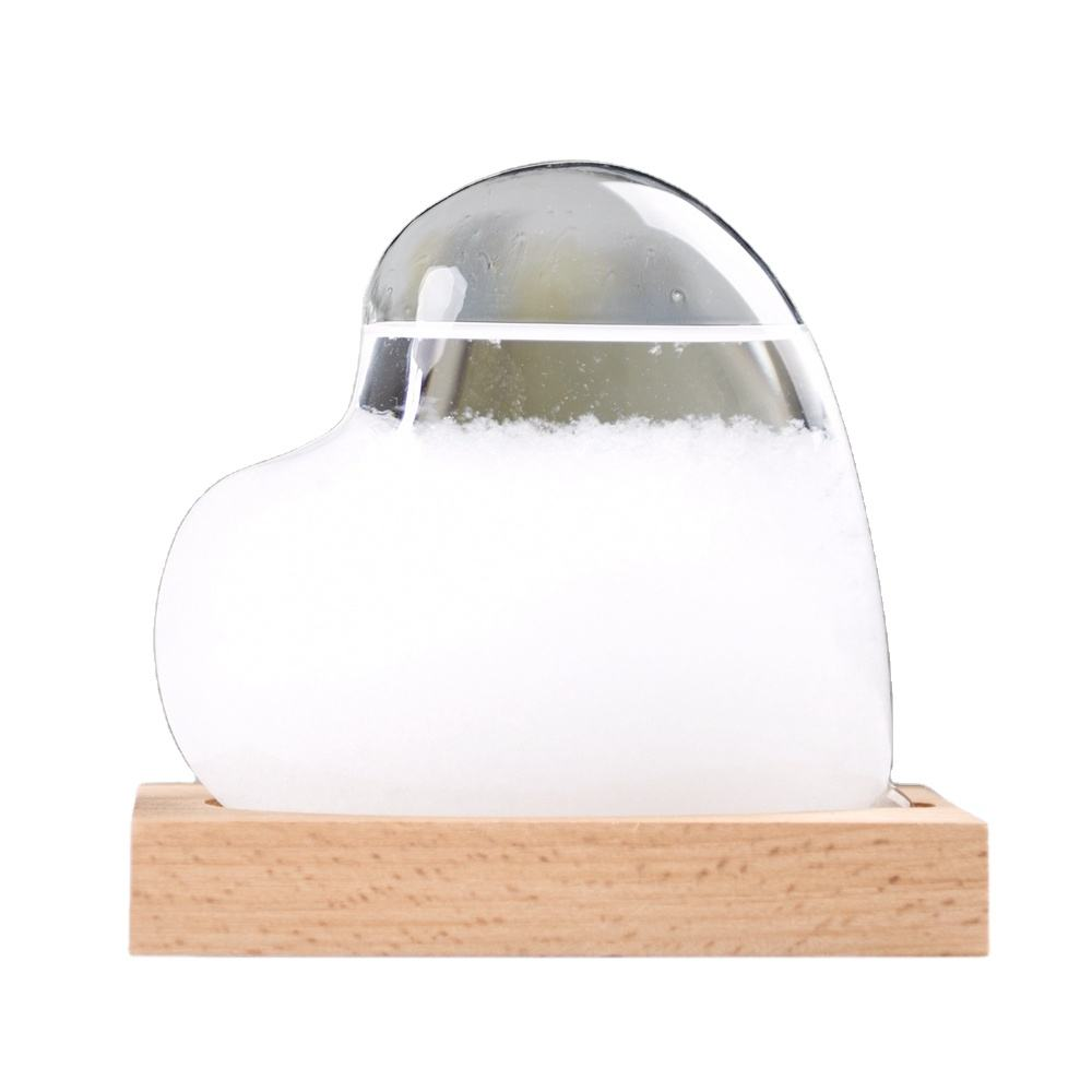 heart shape colored weather forecaster storm gift glass bottle with wood stand