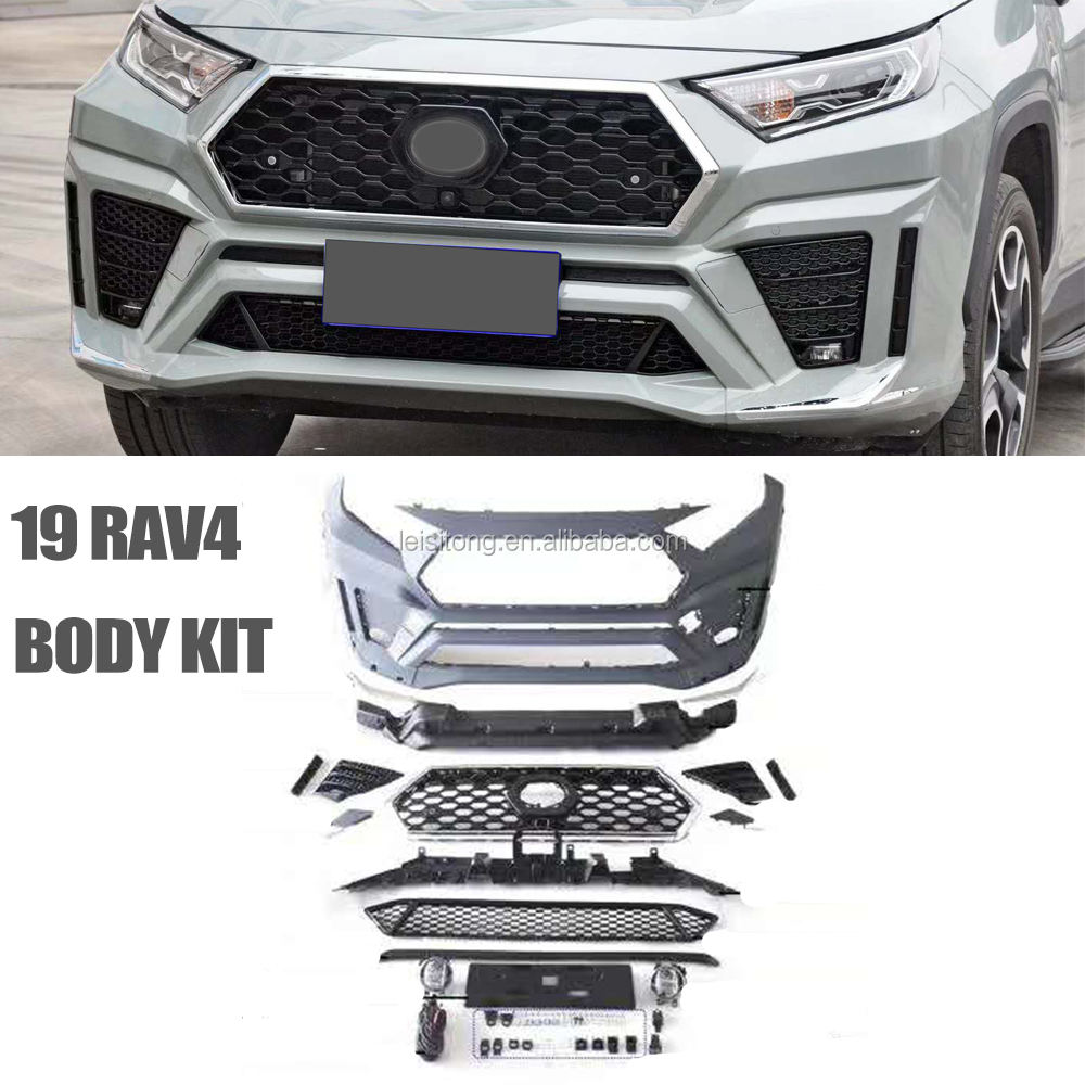 newest grille body kit for toyota 2019-2020 rav4 front and rear bumper under lips