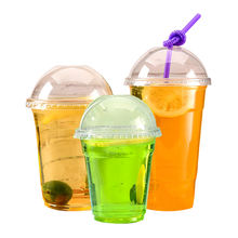 100% compostable clear pla drinking cup natural straw plastic biodegradable cup with lids