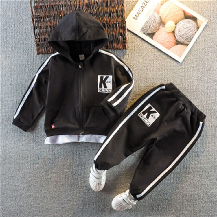 2020 spring and autumn kids jogging sets cute pure color rainbow zipper cardigan hoodies and trousers 2-piece baby girl set