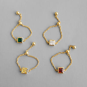 Hot Selling Colorful Crystal Ring S925 Sterling Silver Square Green Red Zircon Chain Adjustable Ring