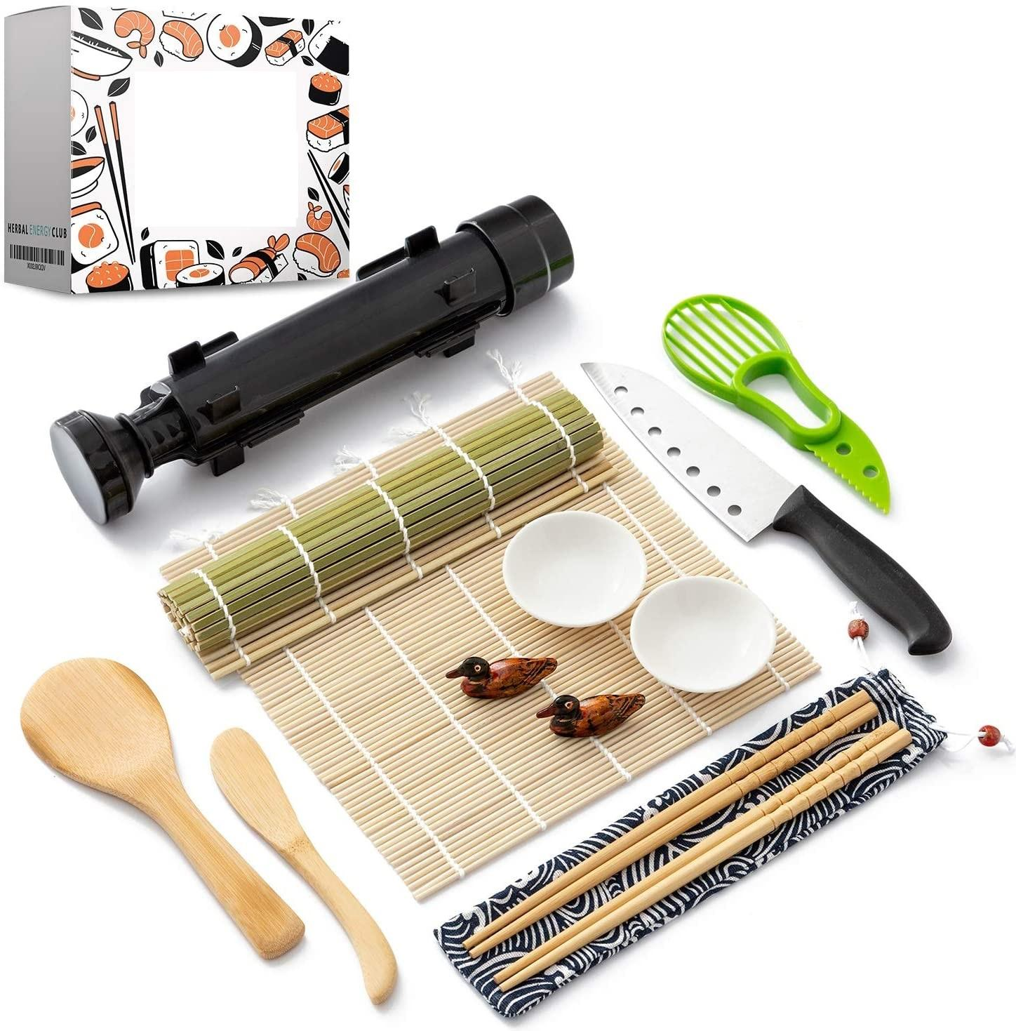 Sushi Making Kit Natural Sushi mold DIY Rolling Kitchen Bamboo Rolling Mats