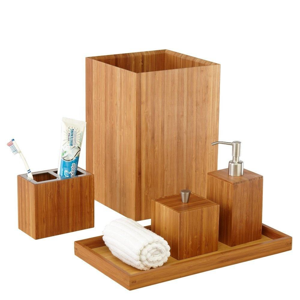 Bamboo Bathroom Accessories Set Wood Bathroom Set Complete with Soap Dispenser, Toothbrush Holder,