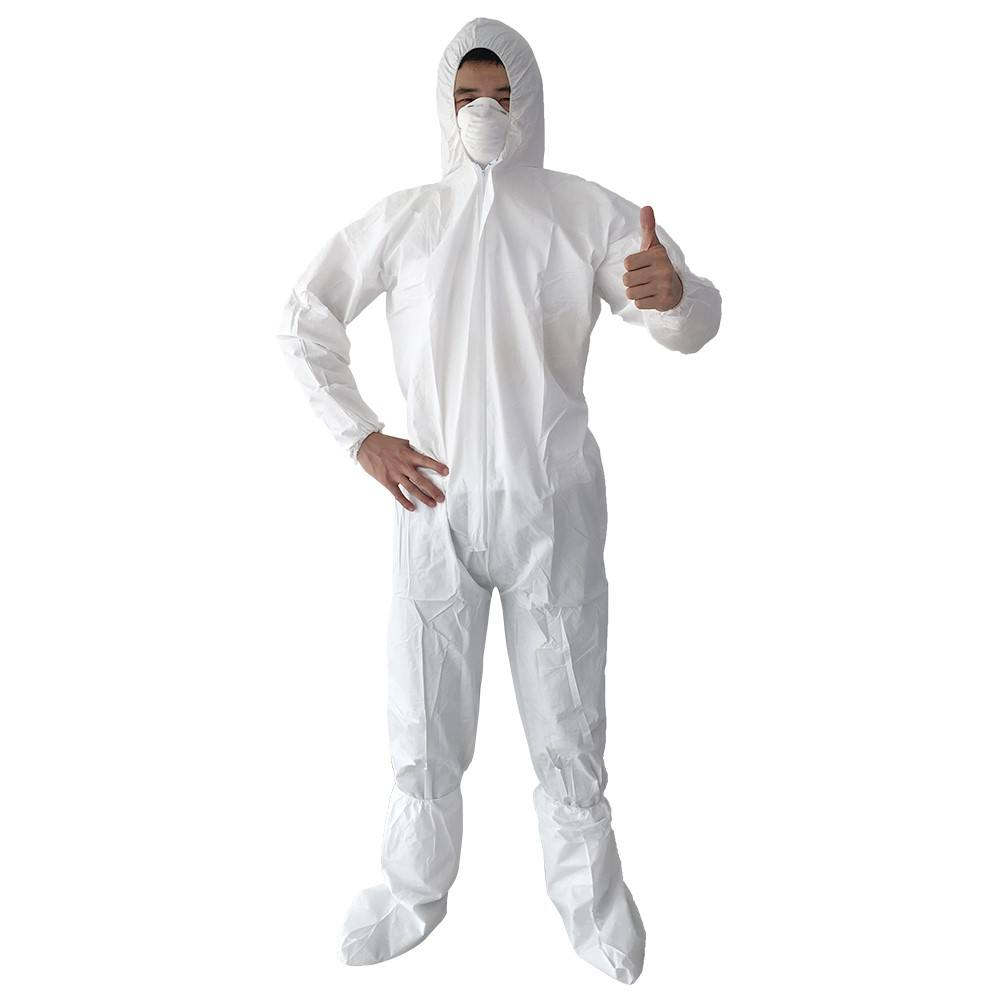 Free samples Disposable Hooded Safety Clothing Suits Non woven Coveralls
