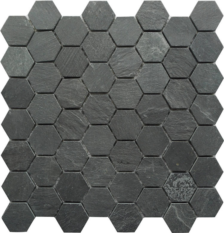 Honeycomb Hexagon Shaped Mosaic Marble Material Black Tiles Slate