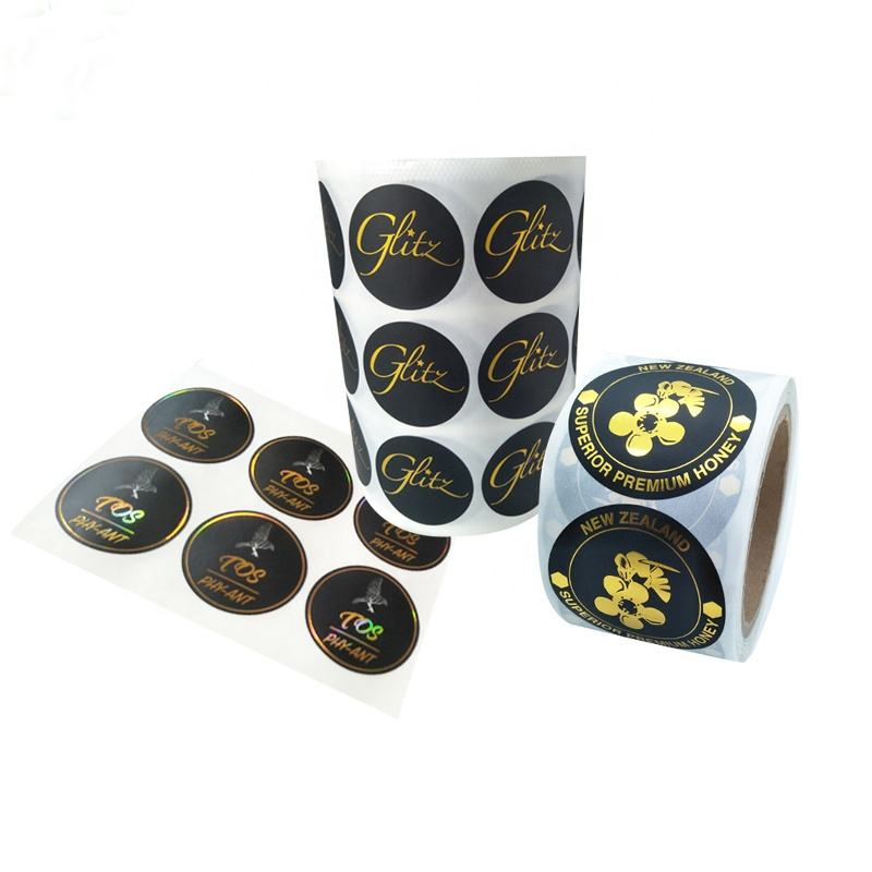 Self Adhesive Roll Labels 2 inches 3 inches Round Gold Foil Hot Stamping Stickers Custom Printing