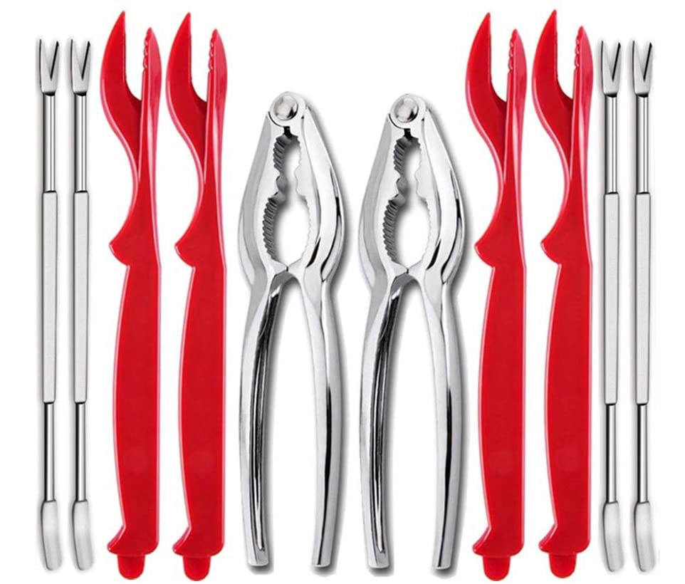 Lobster Cracker Tool Set for Shellfish and Nuts 2 Crackers and 4 Seafood Picks 4 Forks
