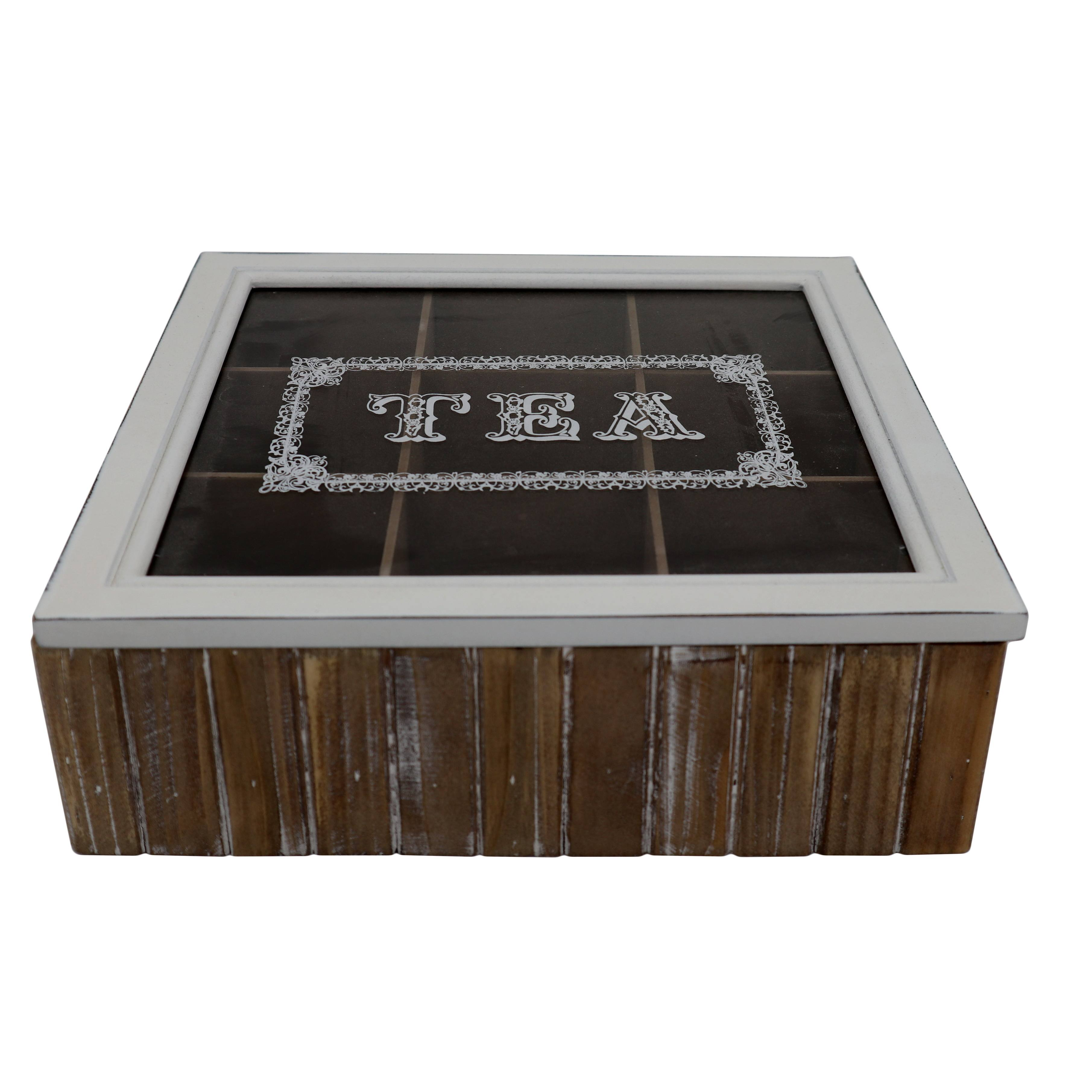 Wholesale Handmade Custom Solid Wood Wooden 9 Compartments Tea Box