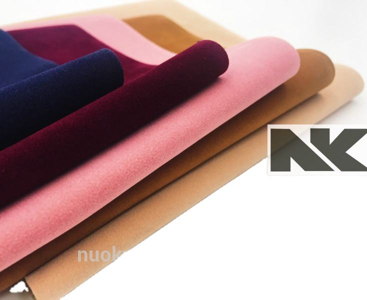 NK P068 PU customizable suede leather with cotton imitate velvet for bags , shoes, hats , decoraction