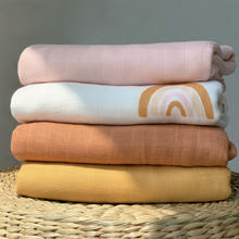 2020 Color Gots Organic Bamboo Cotton Solid Plain Rainbow Newborn Baby Muslin Swaddle Blanket  For Spring