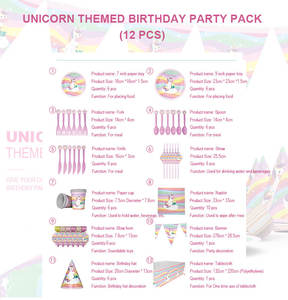 Event Party Supplies Colorful Rainbow Party Unicorn Design Theme Decoration Birthday Packs for Kids