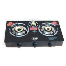 Good quality tempered colored glass three burner induction table top gas stove/cooktop