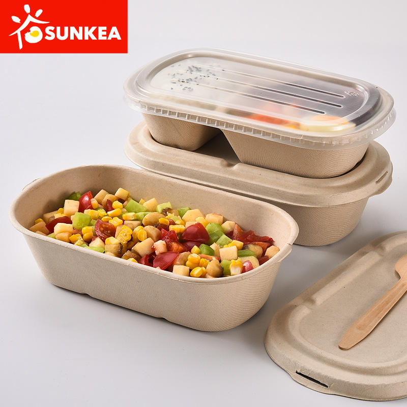 100% compostable wheat straw fiber pulp food container