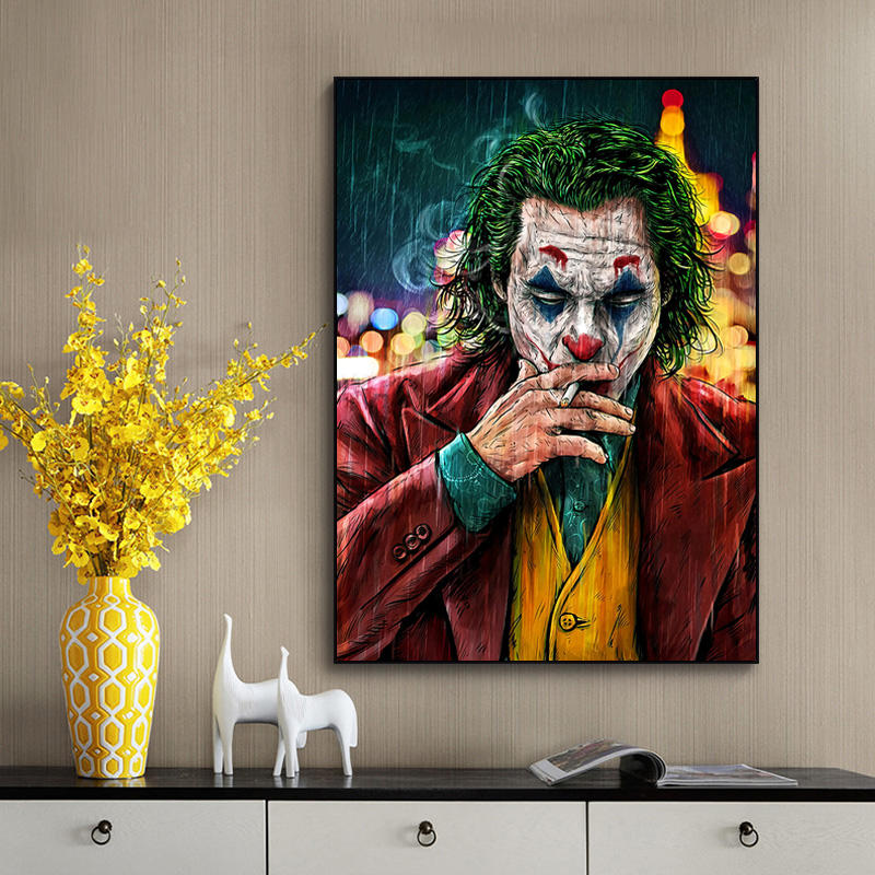 Movie Star The Joker Wall Art Oil Canvas Painting Poster Prints Joker Comic Painting Pictures for Living Room Home Decor